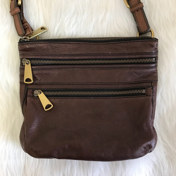 Fossil Handbags - Brown Leather Fossil Crossbody Purse